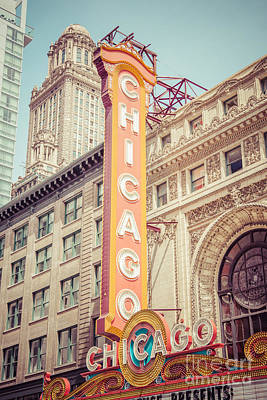 Nostalgic Sign Photograph - Chicago Theatre Retro Vintage Picture by Paul Velgos