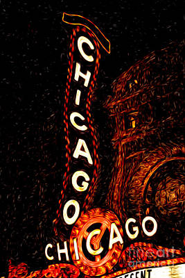 Chicago Theatre Sign At Night Digital Painting Art Print by Paul Velgos