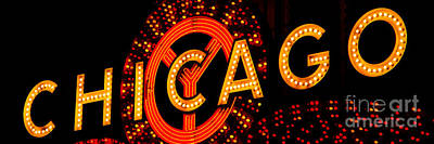Chicago Theatre Photograph - Chicago Theatre Sign Panorama Photo At Night by Paul Velgos