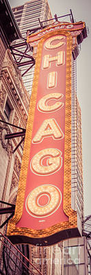 Chicago Theatre Photograph - Chicago Theatre Sign Vertical Panorama Picture by Paul Velgos