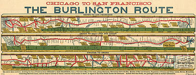Landmarks Painting Royalty Free Images - Chicago to San Francisco via Burlington Railroad 1879 Royalty-Free Image by Celestial Images