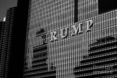 Frank J Casella Royalty-Free and Rights-Managed Images - Chicago Trump - Monochrome by Frank J Casella