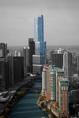 Chicago Trump Tower Blue Selective Coloring Art Print by Thomas Woolworth