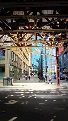 Photograph - Chicago Under The L Track Sidewalk by Anita Burgermeister