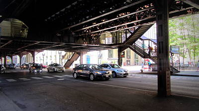 Photograph - Chicago Under The L Tracks Traffic by Anita Burgermeister