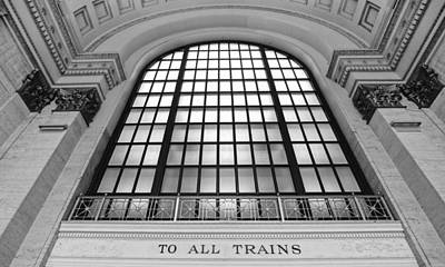 Photograph - Chicago Union Station - Black And White by Jenny Hudson