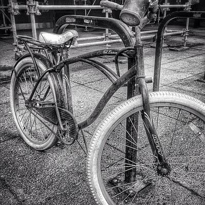 White Photograph - Locked Bike In Downtown Chicago by Paul Velgos