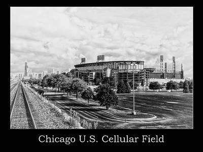 Mixed Media - Chicago Us Cellular Field Bw by Thomas Woolworth