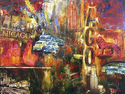 Skyline Painting - Chicago Vintage Art - Old Chicago by Joseph Catanzaro