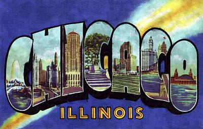 Willis Tower Digital Art - Chicago Vintage Design by World Art Prints And Designs
