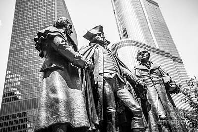 Chicago Washington Morris Salomon Statue Black And White Picture Art Print