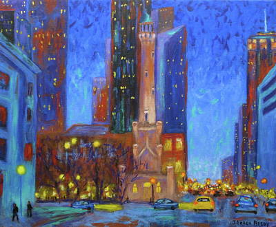 Chicago At Night Painting - Chicago Water Tower At Night by J Loren Reedy