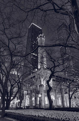 Chicago Water Tower Dusk B W Print by Steve Gadomski