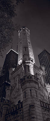 Historic Architecture Photograph - Chicago Water Tower Panorama B W by Steve Gadomski
