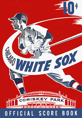 Sports Book Painting - Chicago White Sox 1950's Score Book by Big 88 Artworks