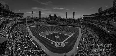 Photograph - Chicago White Sox Pano 1 Bw by David Haskett