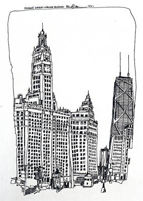 Drawing - Chicago Wrigley And Hancock Buildings by Robert Birkenes