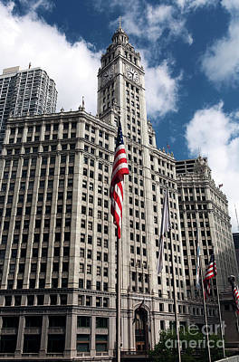 Photograph - Chicago Wrigley Building by John Rizzuto