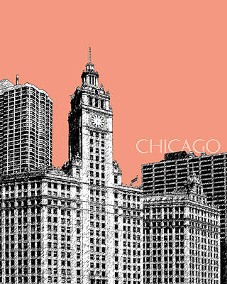 Building Digital Art - Chicago Wrigley Building - Salmon by DB Artist