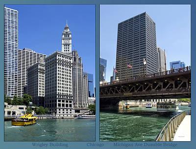 Digital Art - Chicago Wrigley Michigan Ave Bridge 2 Panel by Thomas Woolworth