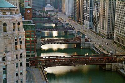 Art Print featuring the photograph Chicago's Bridges @ Sunrise by John Babis