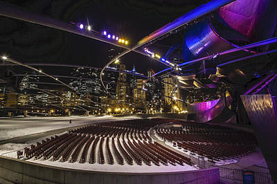 Winter Night Photograph - Chicago's Pritzker Pavillion With Colored Lights  by Sven Brogren