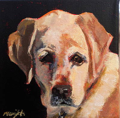 Gold Labrador Painting - Chick by Molly Wright