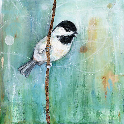 Brass Leafs Mixed Media - Chickadee 1 by Diane Ackers