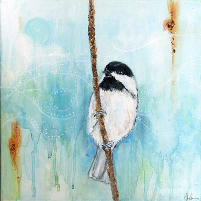 Brass Leafs Painting - Chickadee 2 by Diane Ackers