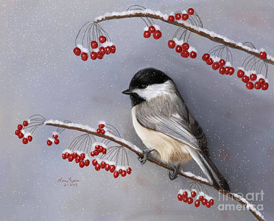 Digital Art - Chickadee And Berries by Lena Auxier