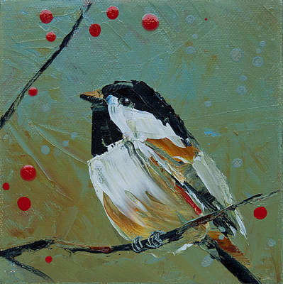 Painting - Chickadee And Red Berries by Jani Freimann