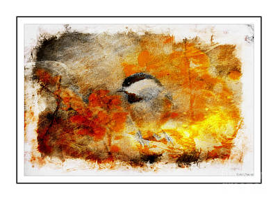 Photograph - Chickadee And The Hiding Caterpillar - Digital Paint 7 by Debbie Portwood