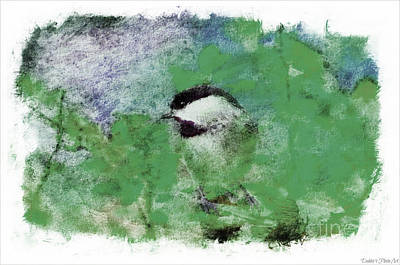 Photograph - Chickadee And The Hiding Caterpillar - Digital Paint 8 by Debbie Portwood