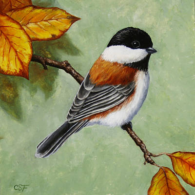 Chickadees Wall Art - Painting - Chickadee - Autumn Charm by Crista Forest