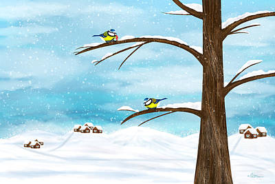Titmouse Digital Art - Chickadee Birds In Winter by Nika Lerman