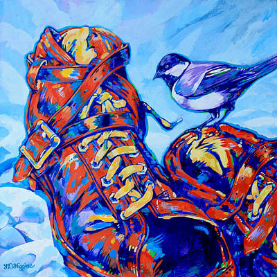 Winter Sports Painting - Chickadee Boots by Derrick Higgins