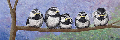 Pastel - Chickadee Chicks by George Burr