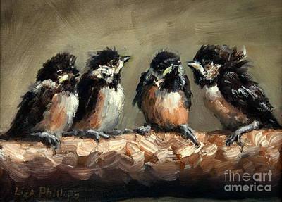 Chickadee Chicks Print by Lisa Phillips Owens
