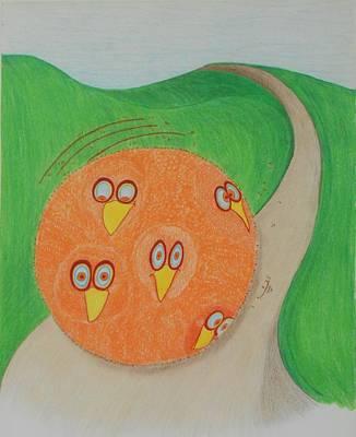 Chickadee Chicks Rolling Art Print by Debra Barrie
