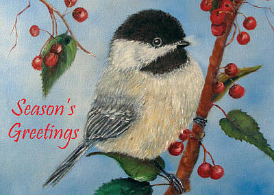 Painting - Chickadee Holiday Card by Loretta Luglio