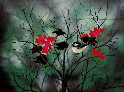 Contemplative Mixed Media - Chickadee by Holly Smith