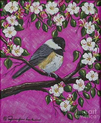 Painting - Chickadee In Apple Blossoms by Jennifer Lake