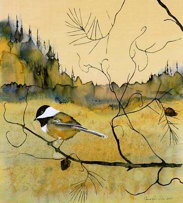 Fabric Tapestry - Textile - Chickadee In Dancing Pine by Carolyn Doe