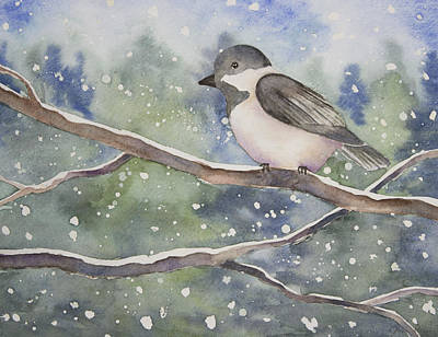 Chickadee In The Snow Original by Jordan Parker