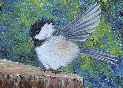 Chickadee Landing Art Print by Dee Carpenter