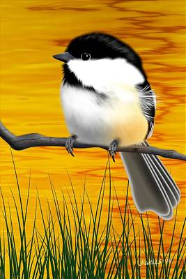 Digital Art - Chickadee On A Branch by John Wills