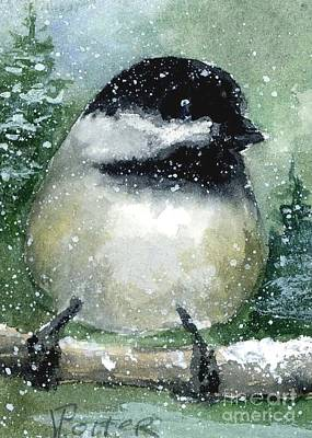 Painting - Chickadee On A Limb by Virginia Potter