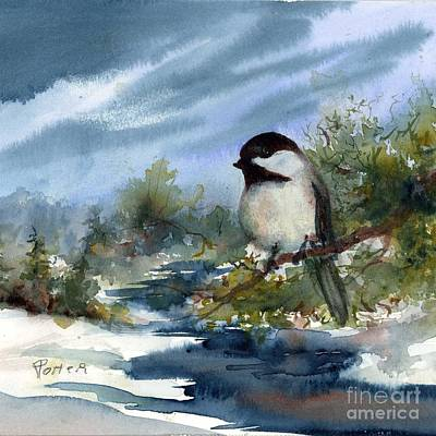 Painting - Chickadee On Cedar by Virginia Potter