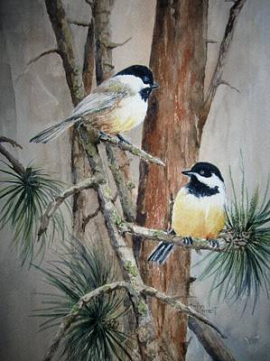 Chickadee Pair Art Print