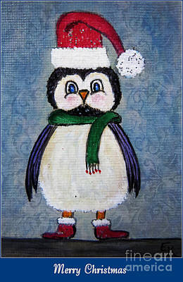 Winter Fun Mixed Media - Chickadee Santa Claus - Merry Christmas by Ella Kaye Dickey